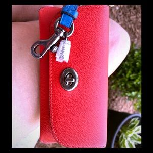 Coach NWT red leather sunglasses case strap